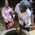 Biodigester feeding, Cambodia (2007)